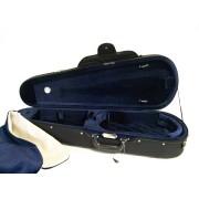 Etui alto forme 40.5cm - 42cm noir / bleu intérieur velours (58-21B)