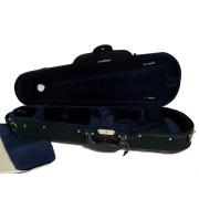 Etui violon 1/2 LUXE forme trapèze noir/bleu (58-2BL)