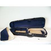 Etui violon 4/4 PASSION LUXE forme trapèze noir/bleu (59-4BB)