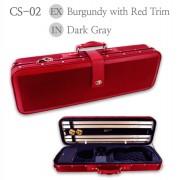 Etui violon 4/4  LANG LUXE bordeaux bordures rouge - intérieur gris (CS-02)